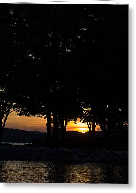 Landscape Posters Greeting Cards - Sunset Over Lake Norman Greeting Card by Chris Flees