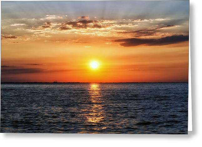 York Beach Greeting Cards - Sunset Over Lake Ontario Greeting Card by Mark Papke