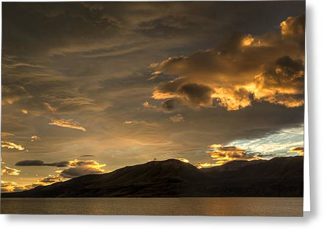 Light And Dark Greeting Cards - Sunset Over Lake Pukaki New Zealand Greeting Card by Colin Monteath