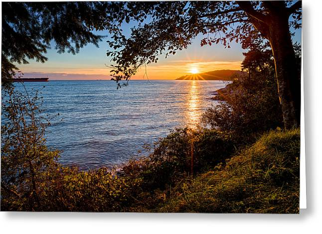 Landscape Greeting Cards - Sunset over Lighthouse Park Greeting Card by Alexis Birkill