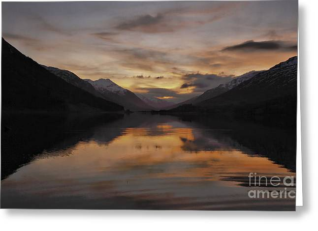 Buster Brown Greeting Cards - Sunset over Loch Doine Greeting Card by Buster Brown