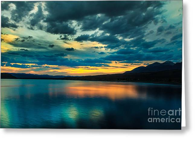 Salmon River Idaho Greeting Cards - Sunset Over Mackay Reservoir Greeting Card by Robert Bales