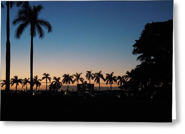 Beach Photograph Pyrography Greeting Cards - Sunset over Mar a Lago Greeting Card by Ron Davidson