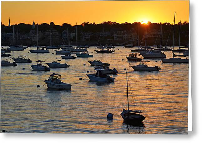 Sailboat Ocean Digital Greeting Cards - Sunset over Marblehead Harbor Greeting Card by Toby McGuire