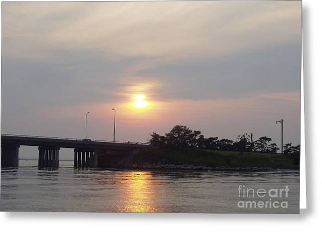 Sunset Over Meadowbrook Bridge Greeting Card by JOHN TELFER
