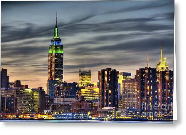 Hdr Landscape Pyrography Greeting Cards - Sunset over Midtown Manhattan  Greeting Card by Daniel Portalatin Photography