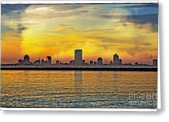 Northwestern Us Greeting Cards - Sunset over Milwaukee Greeting Card by Mary Machare