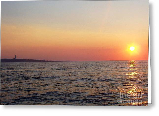 Acrylic Art Greeting Cards - Sunset over Montauk Greeting Card by John Telfer