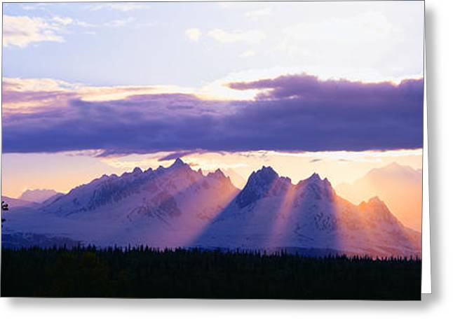 Snow Capped Greeting Cards - Sunset Over Mount Mckinley, Alaska Greeting Card by Panoramic Images