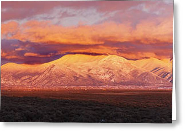 Taos Photographs Greeting Cards - Sunset Over Mountain Range, Sangre De Greeting Card by Panoramic Images
