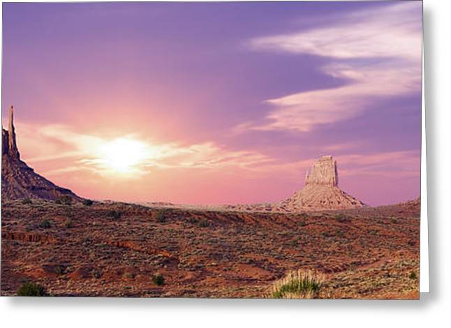 Plateaus Greeting Cards - Sunset over Mountain Valley Greeting Card by Aged Pixel