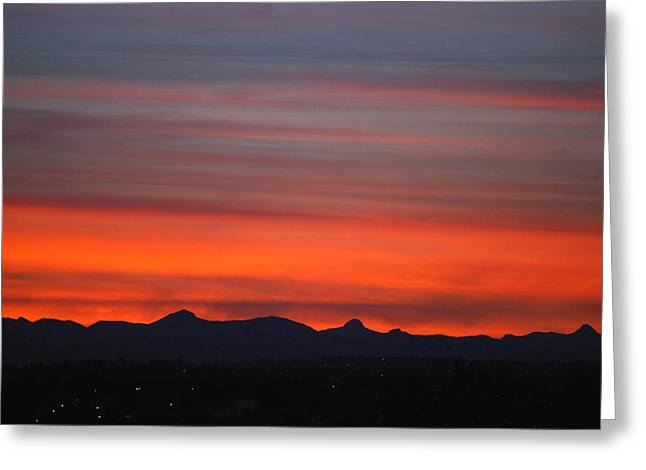 Beautiful Scenery Greeting Cards - Sunset Over Mountains Calgary AB Greeting Card by Laura Strain