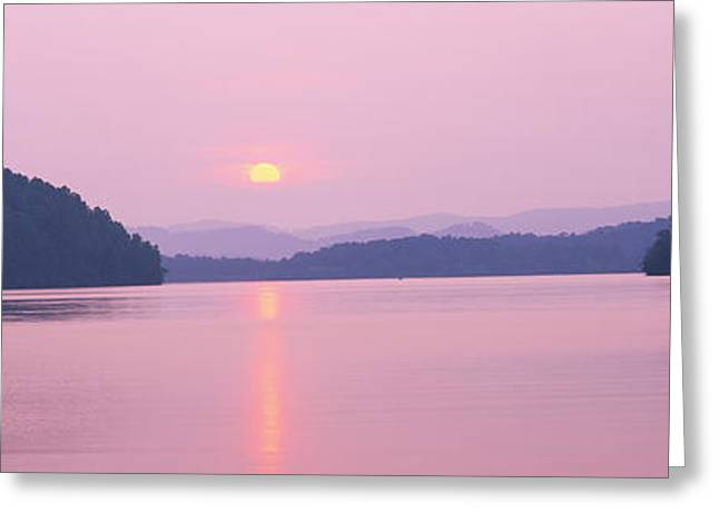 Western North Carolina Greeting Cards - Sunset Over Mountains, Lake Chatuge Greeting Card by Panoramic Images