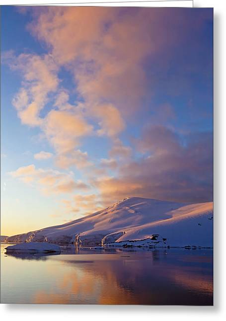 Sunset Over Mountains Lemaire Channel Greeting Card by Erik Joosten
