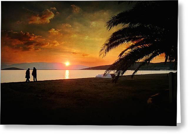 Sunset Posters Greeting Cards - Sunset over Mytilene Greeting Card by Taylan Soyturk