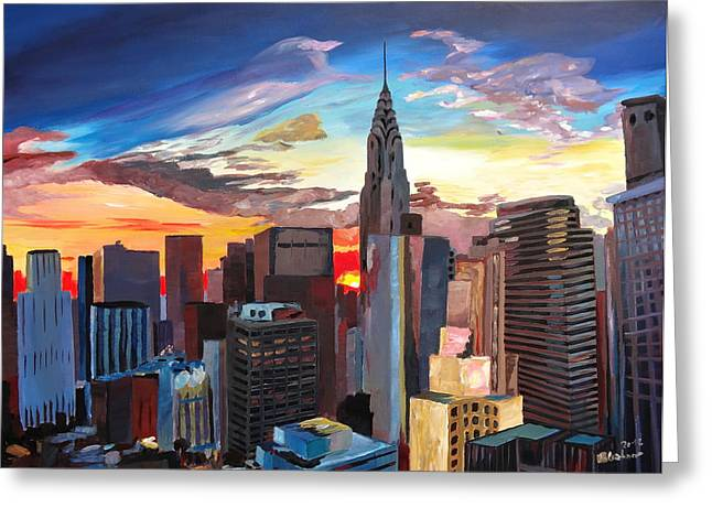 Nyc Posters Paintings Greeting Cards - Sunset over New York Midtown Manhattan Greeting Card by M Bleichner