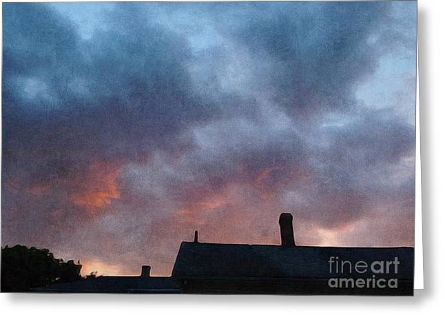Painterly Greeting Cards - sunset over Northampton  Greeting Card by HD Connelly
