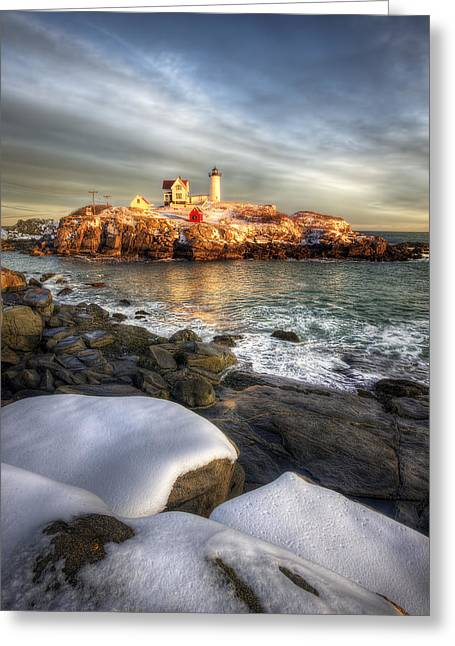 Cape Neddick Lighthouse Greeting Cards - Sunset over Nubble Light Greeting Card by Eric Gendron