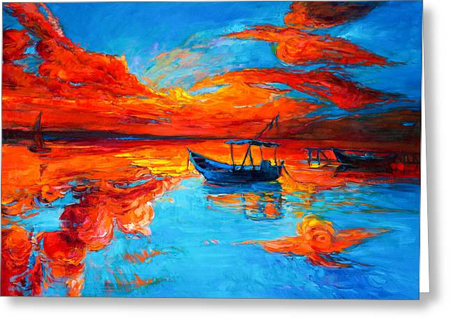 Abstract Beach Landscape Paintings Greeting Cards - Sunset over ocean Greeting Card by Ivailo Nikolov