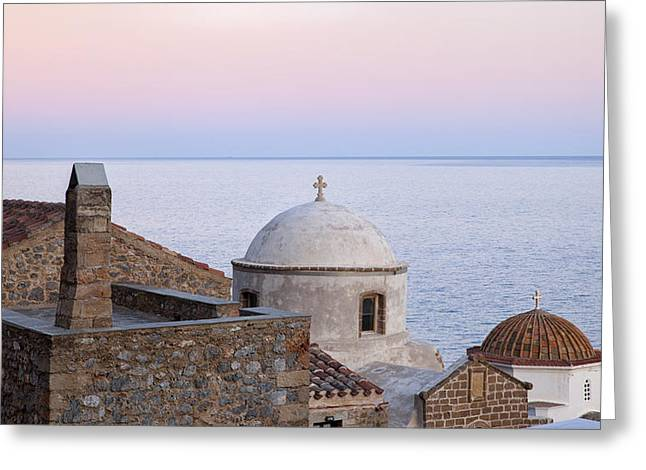 Medieval Temple Greeting Cards - Sunset over old church Greeting Card by Mike Santis