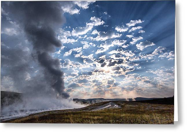 Sun Ray Greeting Cards - Sunset over Old Faithful - Horizontal Greeting Card by Andres Leon