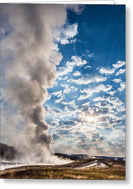 Clouds Photographs Greeting Cards - Sunset over Old Faithful - Vertical Greeting Card by Andres Leon