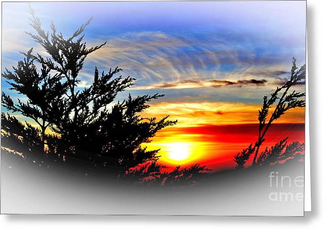 Photographs With Red. Greeting Cards - Sunset over Pacifica with Vignette Effect Greeting Card by Jim Fitzpatrick