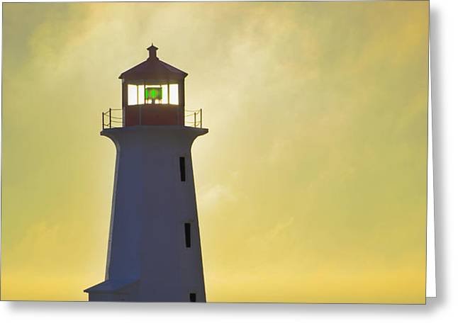 Sunset Over Peggys Cove Lighthouse Greeting Card by Thomas Kitchin & Victoria Hurst