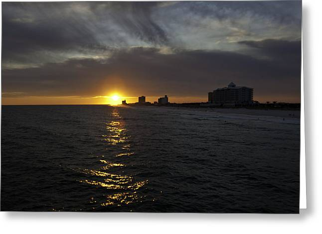 Pensacola Fishing Pier Greeting Cards - Sunset Over Pensacola Greeting Card by Tim Stanley