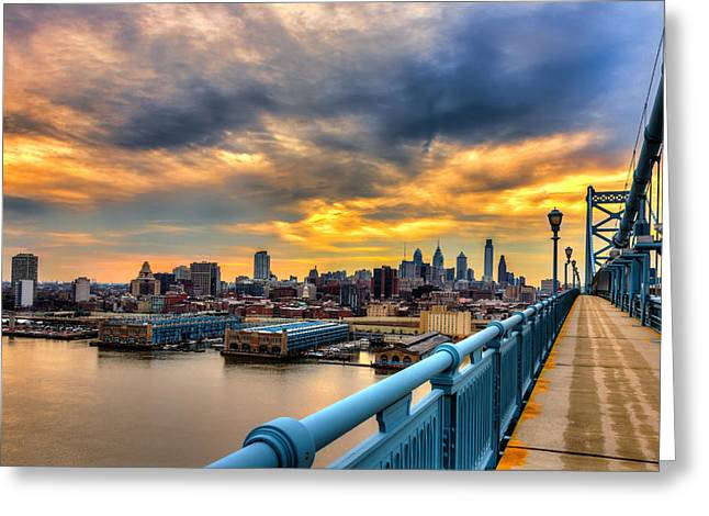 Ben Franklin Bridge Greeting Cards - Sunset over Philly Greeting Card by Paul Tomlin