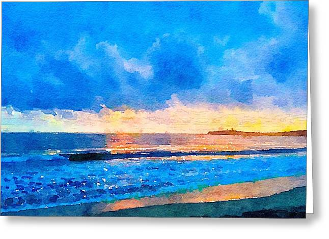 Half Moon Bay Digital Greeting Cards - Sunset Over Pillar Point Greeting Card by Janet Rae-Dupree