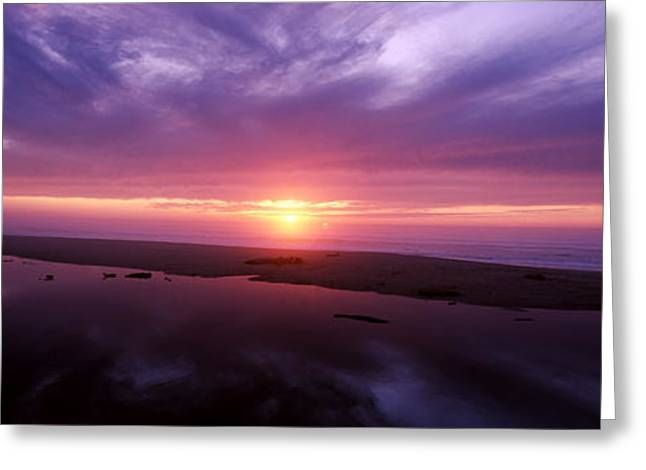 Panoramic Ocean Greeting Cards - Sunset Over Pomponio State Park, San Greeting Card by Panoramic Images