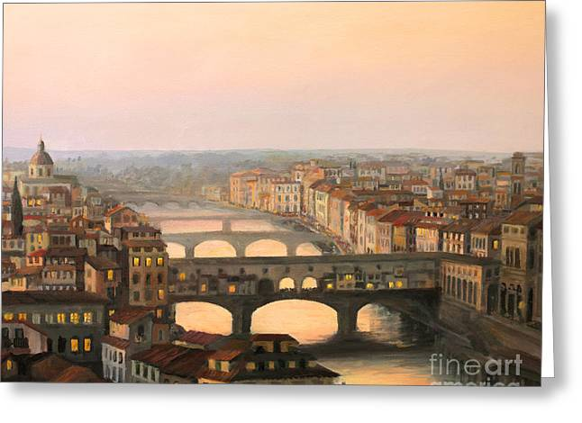 Dome Light Greeting Cards - Sunset over ponte Vecchio in Florence Greeting Card by Kiril Stanchev