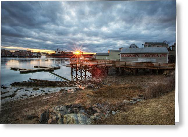Lobster Shack Greeting Cards - Sunset Over Portsmouth Greeting Card by Eric Gendron