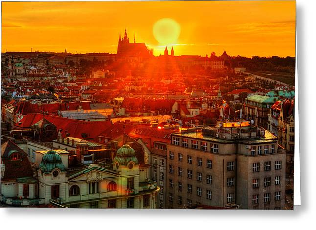 Prague Church Greeting Cards - Sunset over Prague Greeting Card by Midori Chan