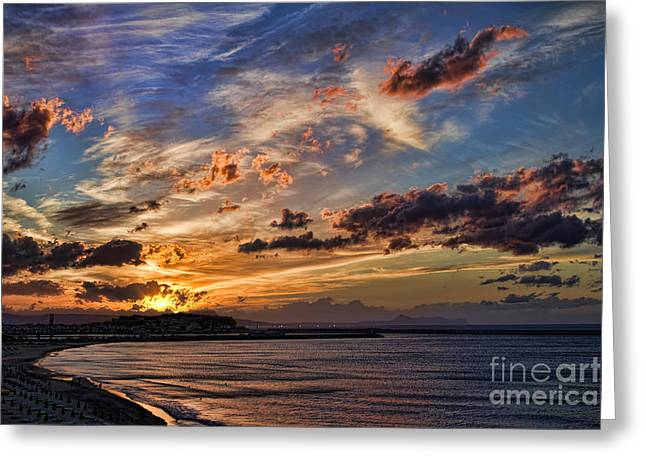 Crete Greeting Cards - Sunset Over Rethymno Crete Greeting Card by David Smith