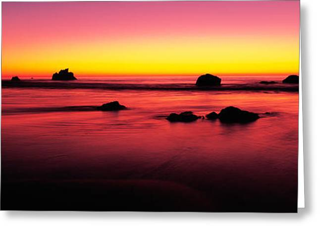 Big Sur Greeting Cards - Sunset Over Rocks In The Ocean, Big Greeting Card by Panoramic Images