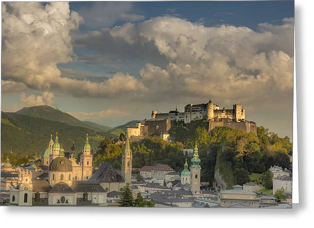 Salzburg Greeting Cards - Sunset over Salzburg Greeting Card by Chris Fletcher