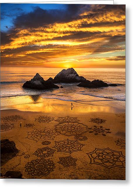 Sand Art Greeting Cards - Sunset over Sand Art Greeting Card by Fred Rowe