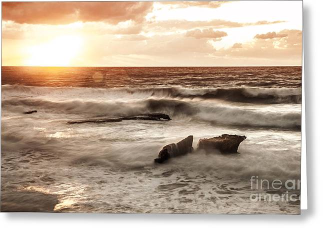 Summer Storm Greeting Cards - Sunset over sea Greeting Card by Anna Omelchenko