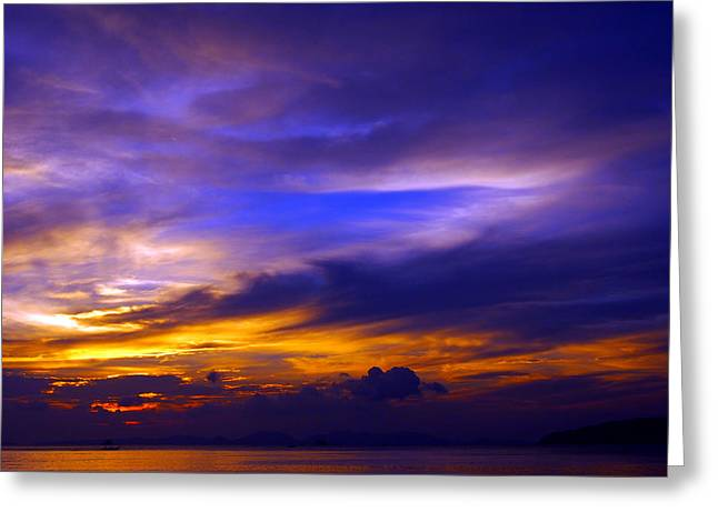 Justin Woodhouse Greeting Cards - Sunset over Sea Greeting Card by Justin Woodhouse