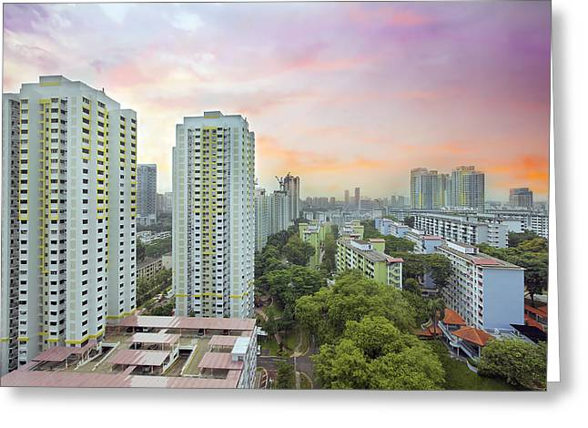 Sunset Over Singapore Housing Estate Greeting Card by JPLDesigns