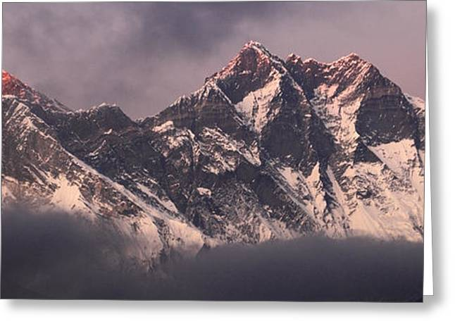 Mt Everest Base Camp Greeting Cards - Sunset over Snow Capped Mount Everest Himalayas Nepal Greeting Card by Dave Porter