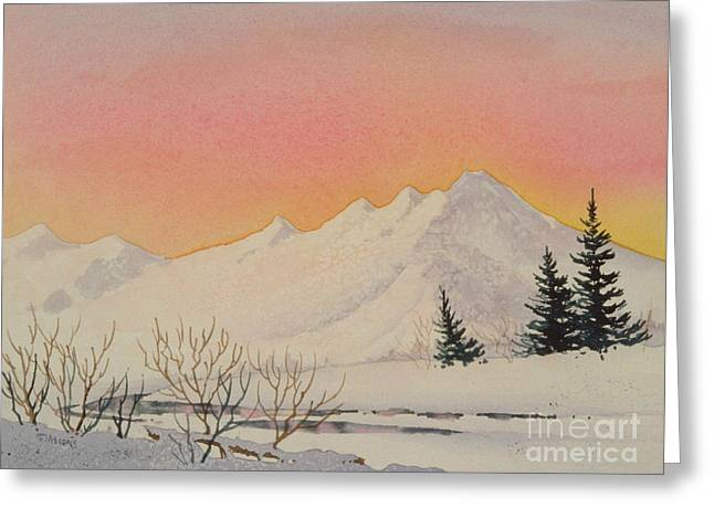 Snow-covered Landscape Greeting Cards - Sunset over Snowy Mountains Greeting Card by Teresa Ascone