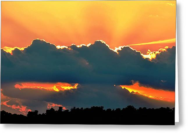 Landscape Posters Digital Greeting Cards - Sunset Over Southern Ohio Greeting Card by Chris Flees