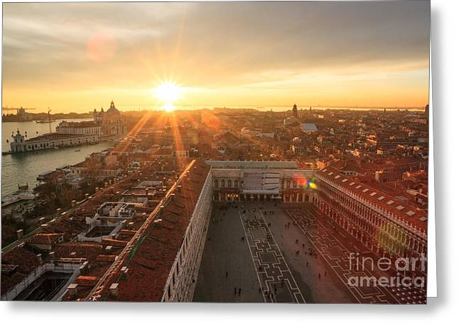 Cupola Greeting Cards - Sunset over St Marks square Venice Italy Greeting Card by Matteo Colombo