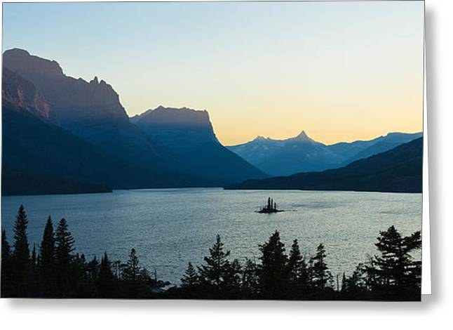 Wild Geese Greeting Cards - Sunset Over St. Mary Lake With Wild Greeting Card by Panoramic Images
