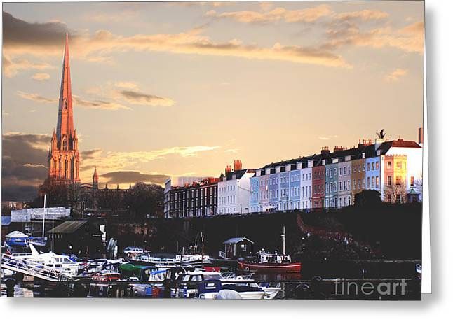 Terri Waters Greeting Cards - Sunset Over St Mary Redcliffe Bristol Greeting Card by Terri  Waters