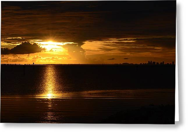 St Petersburg Florida Greeting Cards - Sunset over St Pete Greeting Card by Pamela Blizzard