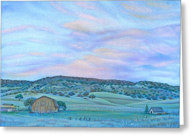 Rural Scene Pastels Greeting Cards - Sunset Over Table Mountain Greeting Card by Michele Myers